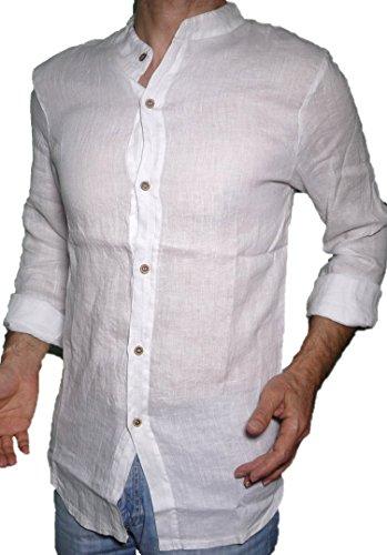 Fantasy camicia puro lino taglio avvitato slim collo coreana manica lunga leggera fresca estiva uomo ragazzo (xxl 52 it uomo vita 102-104, bianco)