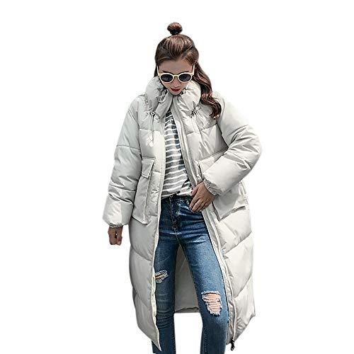 NPRADLA 2018 Damen Mantel Herbst Frauen Jacke Winter Elegant Einfarbig Stehkragen Dicke Warme Dünne Lange(Weiß,L)