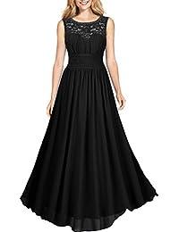 Miusol® Damen Elegant Sommer Trägerkleid Faltenrock Rundhals Cocktailkleid Spitzen Langes Kleid Schwarz EU 36-46