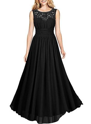 Miusol Damen Elegant Sommer Tr?gerkleid Faltenrock Rundhals Cocktailkleid Spitzen Langes Kleid Schwarz EU 36/38/S