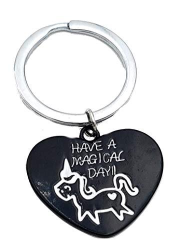 PICCOLI Schlüsselanhänger Damen Einhorn Herz mit Schriftzug Have Magical Day Farbe Schwarz Etui elegant aus Velours