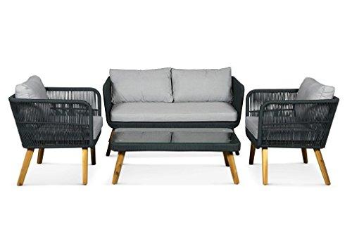 Lanterfant - Loungeset Fabian, Schwarz, Gartenmöbel-Set, Sitzgruppe, 4 Sitze, Gartengarnitur,...