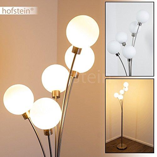 Stehlampe Bernado - Deckenfluter LED mit 5 Echtglaskugeln - Moderner Standleuchte fürs Wohnzimmer - Indirektes, warmweißes Licht für eine gemütliche Lichtstimmung in Ihren Räumen