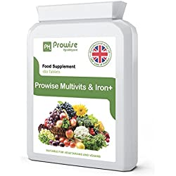 Multi Vitamins & Iron 180 Tablets ( 6 months dose ) - Daily One A Day Multi-Vitamin Supplement – UK manufactured to GMP Guaranteed Quality - Suitable for vegetarians & vegans