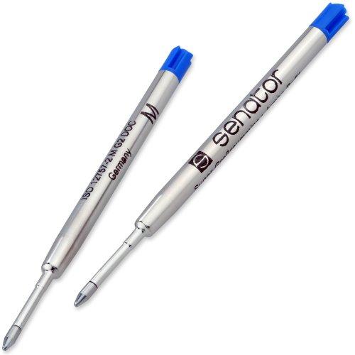 Senator G2 M blau Kugelschreibermine 2er-Set Metall-Großraummine Farbe: blau Strichbreite: 1,0 mm G2 Parker-Typ M, ISO 12757-2 dokumentenecht (140-9-2BL)