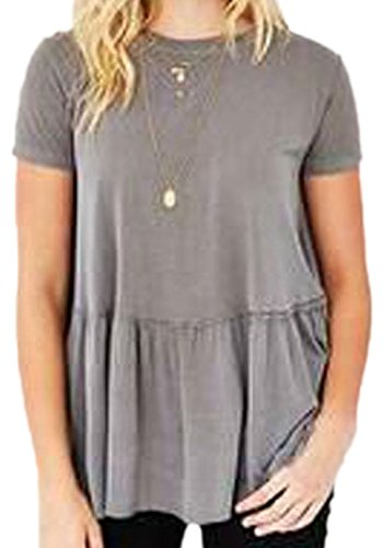 erdbeerloft - Damen Casual Kurzarm Schößchen Shirt, 34-42, Viele Farben Grau