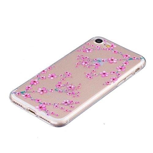 iGrelem® Cover per iPhone 7, con protezione per lo schermo in vetro temperato, Ultra sottile, trasparente, morbida, in TPU, per Apple iPhone 7da 4,7, motivo a scelta con fiori, farfalle, piume color Plum Blossom #1, Pink