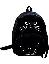 b62b5a0a3926 BESTVECH Women Canvas Lovely Cute Cartoon Cat Backpack Students School Bag (Black)