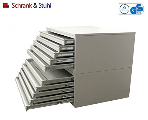 Planschrank DIN-A0 | Flachablageschrank | 10 Schübe für A0 - GRAU