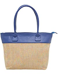 TARUSA Blue Faux Leather Textured Tote Bag For Women