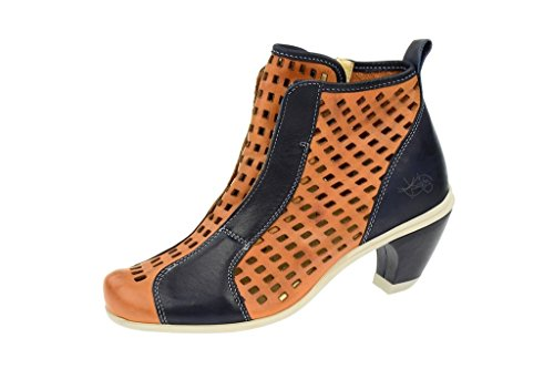 EjectEject Sara Sommer Stiefelette in hellbraun + dunkelblau - Pantofole a Stivaletto Donna , Marrone (marrone), 39