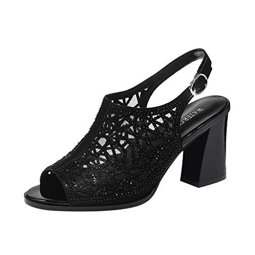 iYmitz Damen Blockabsatz Sandalen Mode Gürtelschnalle Sandaletten mit Absatz Strass Schuhe für Frauen Outdoor(Schwarz,EU 39)