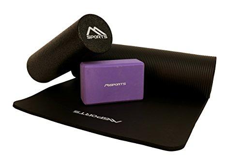 MSPORTS Yoga-FASZIEN Set   Yogamatte Premium Schwarz 190 x 60 x 1,5 cm + Yoga Block in Flieder + Faszienrolle Schwarz 45 x 15 cm   Gymnastikmatte + Yogaklotz + Faszienrolle