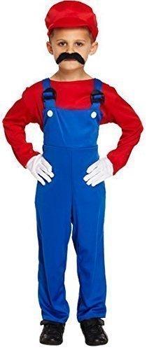 oder Luigi Klempner 1980s Jahre büchertag Halloween Kostüm Kleid Outfit 4-12 Jahre - Rot, 10-12 Years (1980 Kostüme Für Jungen)