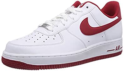 Nike Air Force 1, Chaussons Sneaker Homme - Blanc (White/Gym Red-Gym Red), 42.5 EU