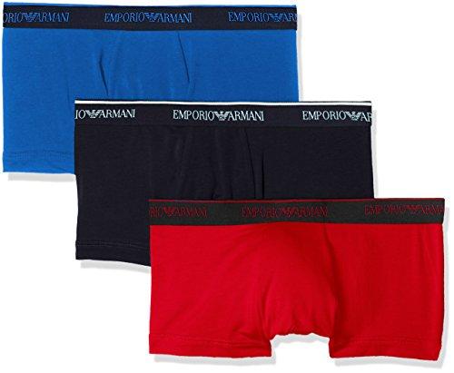 Emporio Armani Underwear Herren Hipster 1113578P717, 3er Pack, Mehrfarbig (Cielo/Ciliegia/Nero 22133), X-Large - Emporio Armani Baumwolle Unterwäsche