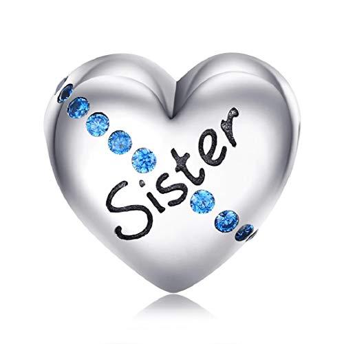 Featherwish 925sterling silver love cuore inciso family charm con zirconi per braccialetti pandora e argento, colore: silver, cod. na
