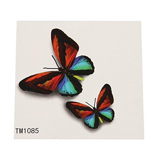 Schatten Bogen (Klebetattoo temporär 2 Schmetterlinge realistisch bunt Schatten 1 Bogen | Tattoos Tattoo Animal Design unisex für die Haut)