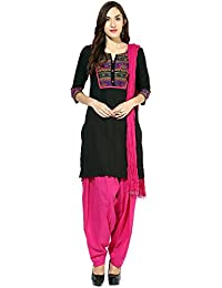 [Sponsored]Jaipur Kurti Pure Cotton Complete Set Of Black Kurta And Rani Patiala Dupatta