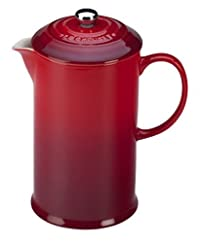 Le Creuset of America Stoneware Petite French Press, 12 oz, Cherry