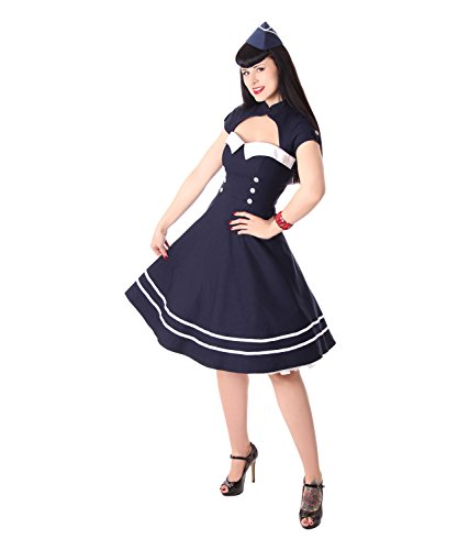SugarShock Harbor Sailor Matrosen Uniform Petticoat Bolero Kleid, Größe:XXL, (Old School Pin Up Kostüm)