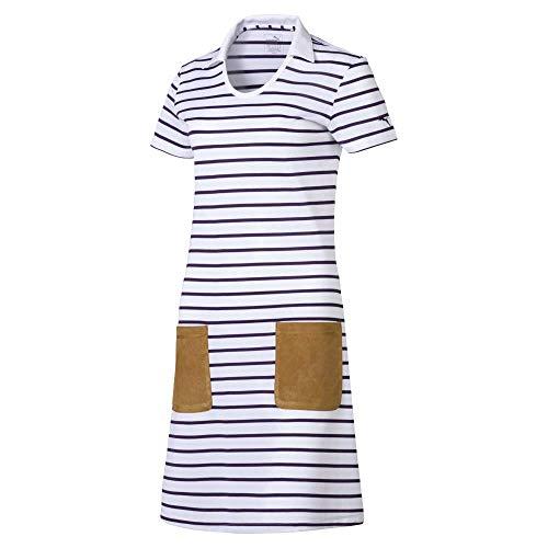 Puma Damen 2019 Golf Dress Kleid, Bright White-Indigo-Stripe, Medium (Puma Cell Schuhe Für Frauen)