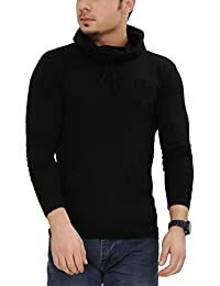 Tees Collection Men's Cotton Full Sleeve Black Color Hooded T-Shirt