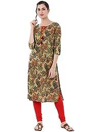 GULMOHAR JAIPUR Women's Straight Cotton Kurti (Maroon)