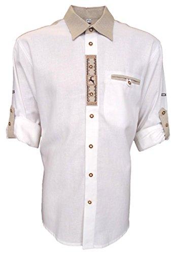 Trachtenhemd für Lederhosen mit Stickerei weiß, Hemdgröße:M