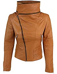 Womens Ladies Girls Soft Black Real Leather Racing Biker Style Jacket