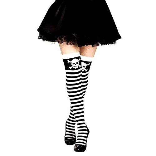 Medias a rayas blancas y negras con calaveras para mujer