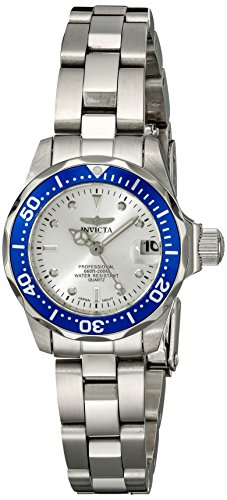 Invicta Pro Diver Women's Quartz Watch with Silver Dial  Analogue display on Silver Stainless Steel Bracelet 14125