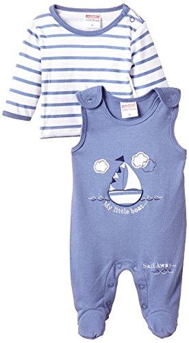 Schnizler Unisex Baby Strampler Mein Kleines Boot, 2 - tlg. Set, Langarmshirt gestreift, Gr. 56, Blau (original 900)