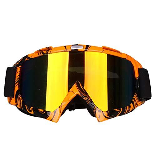 KnBoB Snowboardbrille Herren Motocross Brille Verspiegelt Sport Brille Band Orange Schwarz