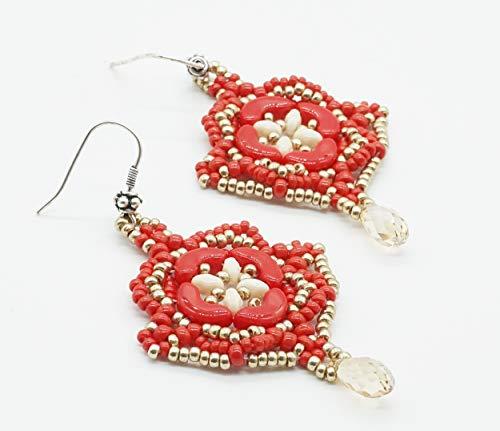 Orecchini goccia vero cristallo briolette fatti a mano in tessitura di perline di vetro rosse pendenti estivi bigiotteria donna artiginale pezzi unici in pronta consegna