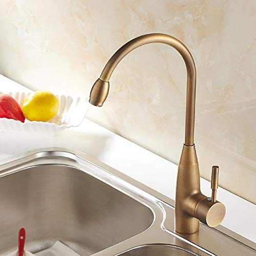 TAP Klassischer High-Arc Single Lever Kitchen Sink Mixer in Antique Brass mit 360 ° Swivel Spout -