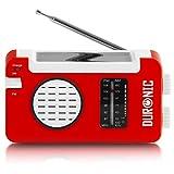 Duronic Hybrid Radio solaire / dynamo / USB – appareil d'urgence / parfait pour loisirs d'extérieurs