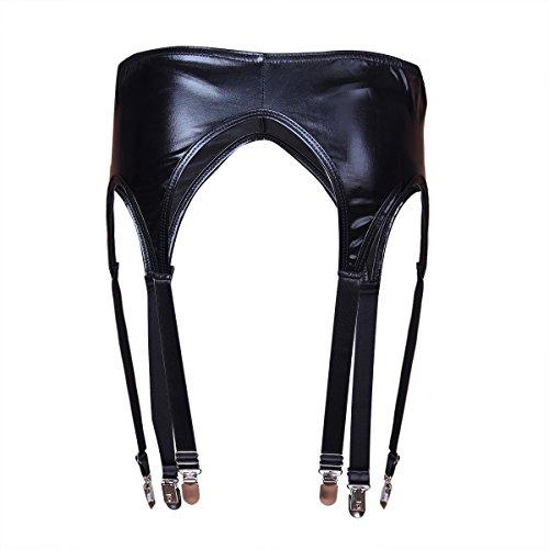 YiZYiF Wetlook Damen Strumpfgürtel Strapsgürtel mit G-string Dessous Nachtwäsche Höschen Reizwäsche Strumpfhalter Schwarz One Size