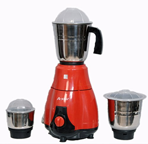 A-Star Mixer Grinder & Juicer 550 Watt with 3 Jars (Red-Black)