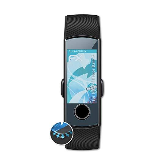 atFoliX Schutzfolie passend für Huawei Honor Band 5 Folie, ultraklare & Flexible FX Bildschirmschutzfolie (3X)