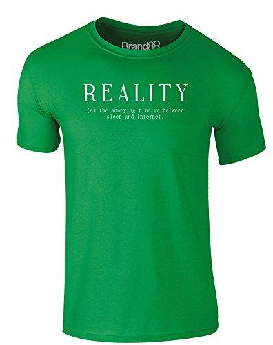 Brand88 - Reality, Erwachsene Gedrucktes T-Shirt Grün/Weiß