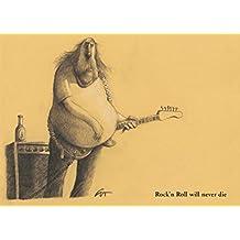 Postkarte A6 /• 5402 Rock/´n Roll will never die von Inkognito /• K/ünstler Peter Gut /• Satire
