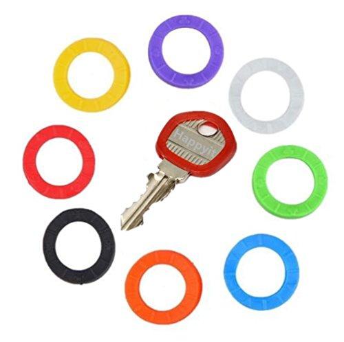 Happyit Hohles Umweltschutz-Multi Farbgummisilikon Soft-Key-Kappe Schlüsselabdeckungs-Fälle Topper-Schlüsselring (16 Stück) Bunte Fall