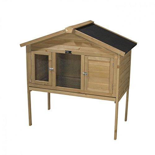 Kaninchenstall KRISTIN aus massivem Tannenholz, 100x55x114 cm, wetterfester Hasenstall für Sommer & Winter, geeignet für Außenbereiche - TIMBO Kaninchenstall & Kleintierstall Großes Indoor-kaninchenstall