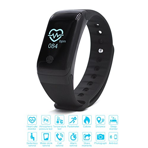 GLOBAL Smart Armband mit Bluetooth Headset konzipiert; Sport-Armband mit Temperatur-Monitor, Herzfrequenz-Monitor, Hi-Fi-Lautsprecher, Bluetooth-Musik-Controller, Sleep Monitor, Fitness Tracker, Pedometer Tracking Kalorien Gesundheit kompatibel mit Android 4.3 /4.4 /4.5 /5.0 /5.1, IOS 7.0 8.0 8.1.9.10 iphone 4s / 5s / 6 / 6s / 7 Smartphones