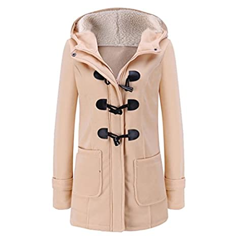 Vertvie Femme Manteaux à Capuche Bouton Corne Blouson Veste Jacket Fleece Épais Casual Hiver Chaud (FR 2XL(3XL sur l'étiquette),