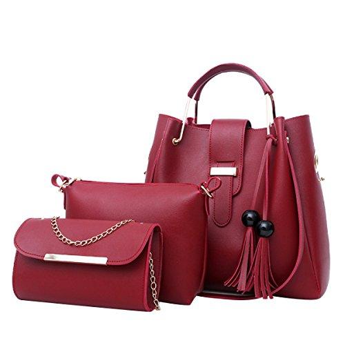 Frauen Neue Schultertasche Mode Zwei Sätze Einkaufstasche Quaste Handtasche Red