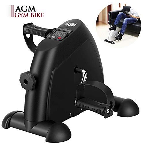 AGM Mini Bicicleta Estáticas, Ejercitador de Pedales Estaticos, Máquinas de piernas para Entrenamiento de Brazos y Piernas Aparatos de Pedales, LCD Pantalla y Resistencia Ajustable (Negro)