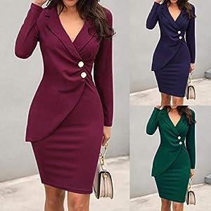 Floweworld Damen Minikleider Mode einfarbig V-Ausschnitt Umlegekragen Langarm geknöpft lässig, figurbetont Kleider Formelle Büroarbeit Kleider
