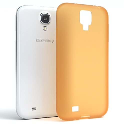 Samsung Galaxy S4 / S4 Neo Hülle - EAZY CASE Ultra Slim Cover TPU Handyhülle Matt - dünne Schutzhülle aus Silikon in Dunkelblau Matt Orange